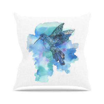 "Sonal Nathwani ""Hummingbird"" Blue Watercolor Throw Pillow"