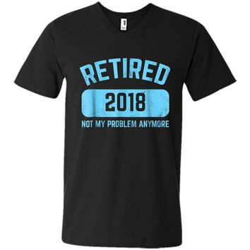 Funny Retirement Party Gift  Not My Problem Anymore Mens Printed V-Neck T