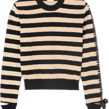 Fendi - Lace-up striped pointelle-knit sweater
