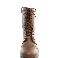 Brown Babe On Duty Lace Up Combat Boots   $10.99   Cheap Trendy Boots Chic Discount Fashion for Wome