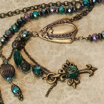 Victorian tassel necklace vintage steampunk jewelry steampunk rosary Victorian rosary OOAK Luxe Hardware Christian cross necklace religious