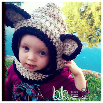 RTS Hooded Fox Cowl (crochet) - fits 6 month-2 year - Only One