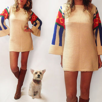 Vintage 1960's 1970's Knit Mini Navajo Sweater Dress || Size Small Size Medium