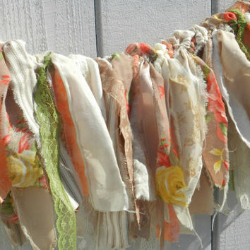 shabby wedding banner gypsy boho romantic baby shower photo prop nursery decor farm wedding rustic fabric party banner peaches and cream
