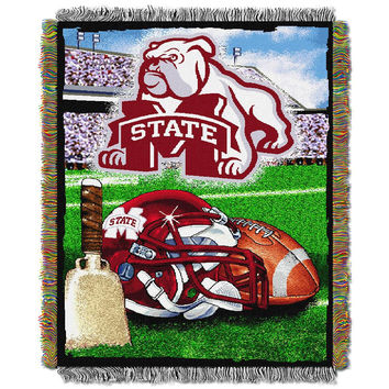 Mississippi State Bulldogs NCAA Woven Tapestry Throw (Home Field Advantage) (48x60)