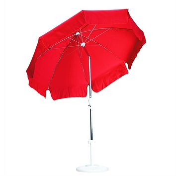 Red 7.5-Ft Patio Umbrella with Push Button Tilt and Pole in Anodized Aluminum Finish