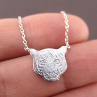 Bengal Siberian Tiger Face Shaped Animal Themed Pendant Necklace in Silver
