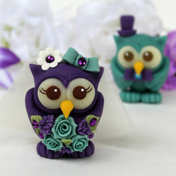 Owl wedding cake topper, teal purple love birds, custom bride and groom with banner