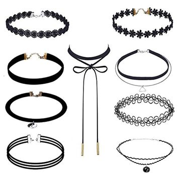 Hunputa 9 Pieces Black Velvet Chokers Necklaces, Stretch Tattoo and Black Bead Chokers Necklaces