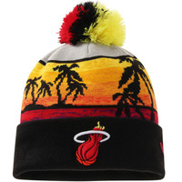 Miami Heat New Era Hardwood Classics Winter Beachin Cuffed Knit Hat With Pom - Black