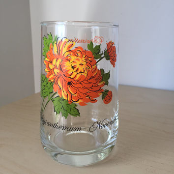 Vintage Drinking Glass, Flower of the Month Series November Chrysanthemum, Orange Floral Glass Cup, Birthday Gift