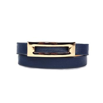 """Sienna"" Navy Blue Buckled Leather Bracelet"