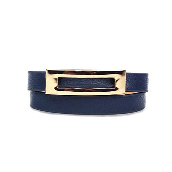 Buckled Leather Bracelet - Navy Blue