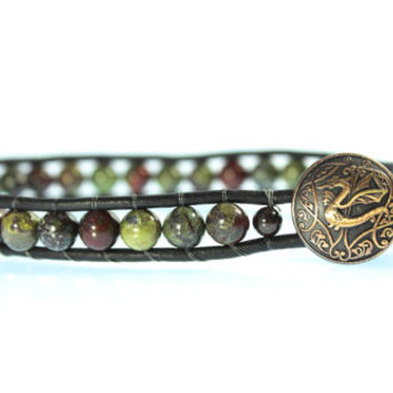 Dragon Leather Bracelet, Dragon's Blood Stone, Single Wrap, Women's, Men's, Unisex, Boho Jewelry