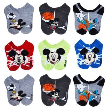 Disney Boys Mickey Mouse Clubhouse Socks Sports 9-PACK Size 4-6