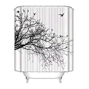 Birds in Tree Black White Shower Curtain in Polyester Fabric