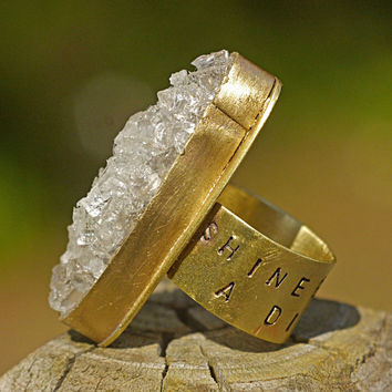 Gorgeous Gold Tone Crystal Druzy Ring- 'Shine Like a Diamond', Personalized Statement Ring, Women's Stamped Metal Jewelry, Chunky, Sparkle Ring
