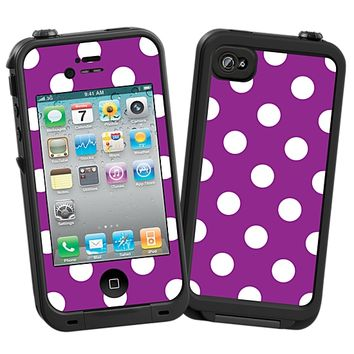 White Polka Dot on Purple Skin  for the iPhone 4/4S Lifeproof Case by skinzy.com