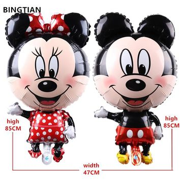BINGTIAN  85CM*47CM Mickey Minnie mouse foil ballons baby toys balloons birthday party supplies decoration