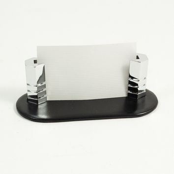 Business Card Holder in Black Leather