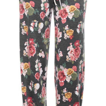 Casual Floral Pants - Charcoal