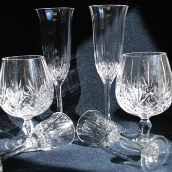 Vintage Crystal Cognac Champagne and Cordial Glasses , Set of 6 Crystal d'Arques France