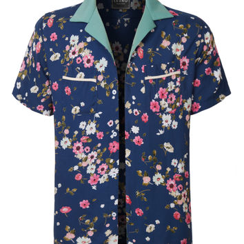 LE3NO Mens Casual Floral Print Hawaiian Short Sleeve Button Down Shirt