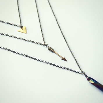 triangle arrow and quartz layer necklace, titanium quartz necklace,  geometric necklace, triangle necklace, stone necklace