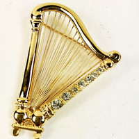 Harp Brooch with Clear Rhinestones Gold Tone Vintage