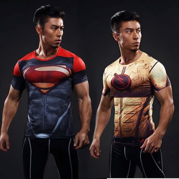 high quality Men's Marvel Armour T-shirt Superhero Compression T Shirt male Fitness Tights Under Tops & Tees