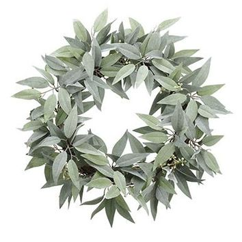 """Whitewashed Green Artificial Seeded Eucalyptus Wreath - 22"""" Wide"""