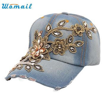 Womail The most 2016 New Vogue Women Diamond Flower Baseball Cap Summer Style Lady Jeans Hats