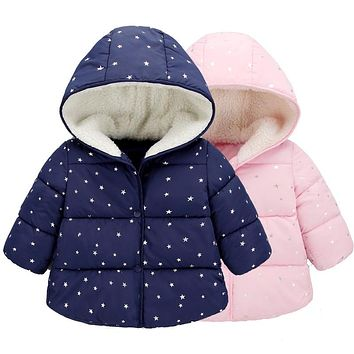 Baby Girls Snow Wear Parkas 2017 New Winter Solid Fashion Regular Polka Dot Hooded Snow Wear Coat Baby Girls Down Parkas 4dp003