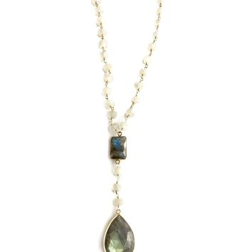 Channing Labradorite and Moonstone Y Necklace