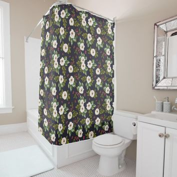 floral, retro, classic, pattern, teal, vintage, shower curtain
