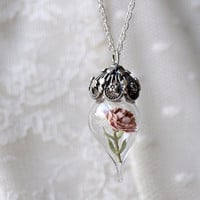 Necklace Terrarium  Pink Peony Flower by WoodlandBelle on Etsy