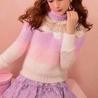 Fairy Kei lilac and pink sweater