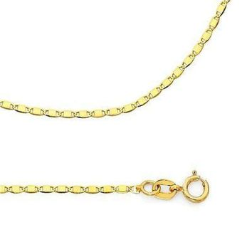 Valentino Flat 1.3mm curved  18Kts Gold Plated Chain