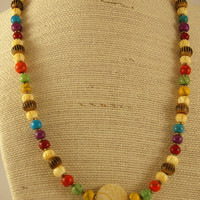 Colorful Resin Beaded Necklace with Carved Bone Focal.  Fashion Necklace.  Ready to ship.