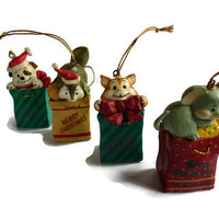 Vintage Christmas Ornaments . Wooden Christmas Decoration . Plastic . Cute Animal Ornaments . Cat, Dog, Squirell, Mouse .