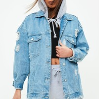 Missguided - Blue Jersey Hooded Denim Jacket