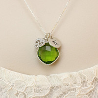 Peridot necklace, August birthday gift for her, All 925 Sterling Silver initial necklace, personalized birthstone jewelry,