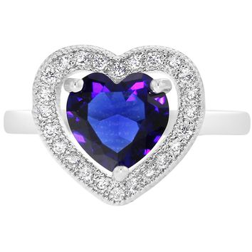 Fashion Stylish Blue Clear Crystal Love Heart Rings for Women