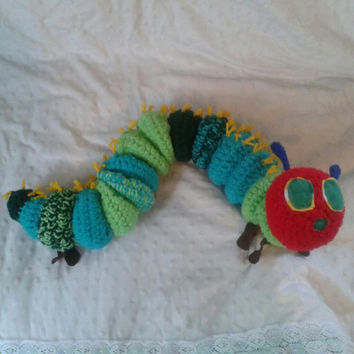 Crocheted Medium sized Very Hungry Caterpillar from the beloved Childrens Book Plush Stuffed Animal Amigurumi