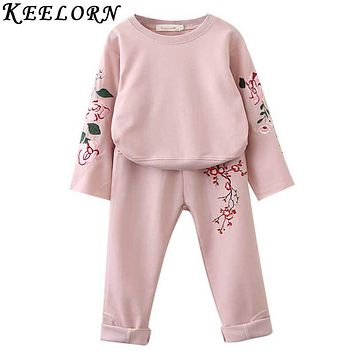 Girls Clothing Sets  Autumn Winter Girls Boys Clothes Flowers Embroidery Sweatshirts Casual Pants 2Pcs for Kids Suit