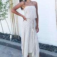 Stripe Tube Top Maxi Dress