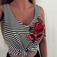 Women Crop Tank Top Striped Rose Embroidery Patch Cotton Singlet 2017 Summer T shirt  Slim Fit Camis Base Vest T-shirt Tee Blusa