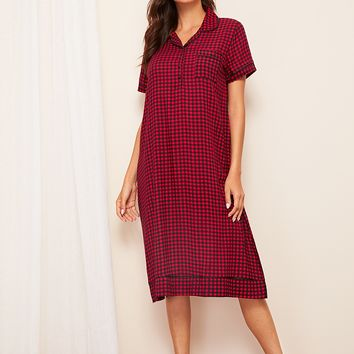 Gingham Button Front Shirt Dress