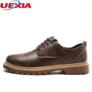 UEXIA Handmade Sewing Men Shoes Casual Shoes Solid Lace-up Retro Breathable Microfiber Patent Leather Flats Shoes Mens Footwear