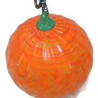 Vintage Large Blown Glass Ornament, Pumpkin Ornament